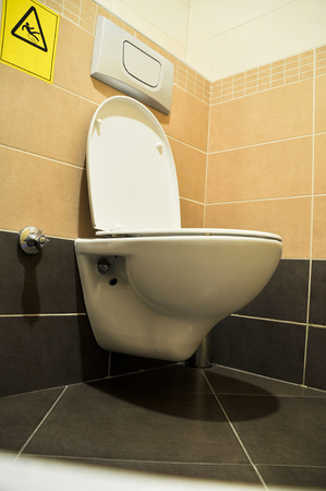 bowel wall: Modern very clean a toilet and slippery ground