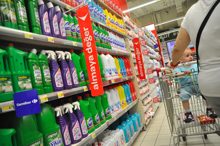 carrefour: Istanbul Maltepe Carrefour has opened a new branch. Cleaning materials section Editorial