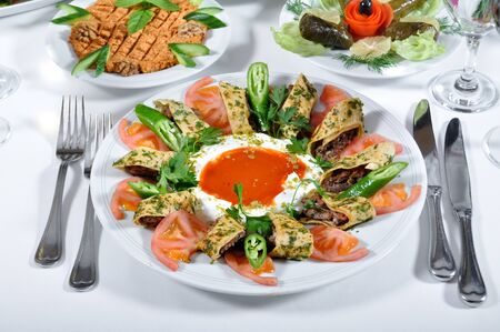 turkish kebab: Very delicious Turkish kebab with different presentations Stock Photo