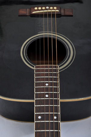 Closeup of the acoustic guitar strings, musical background Stock Photo