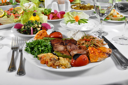 scrumptious: Turkish shish kebab a delicious dinner, regional a Turkish meal Stock Photo