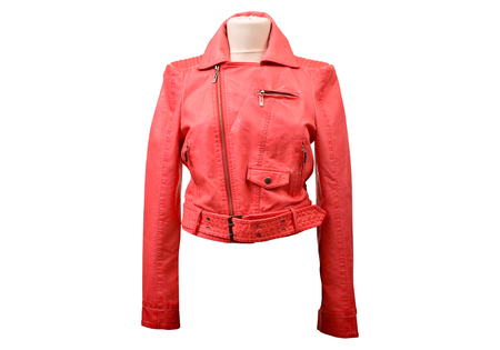 Red leather jacket from a stylish design Stock Photo