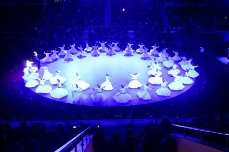 sufi: Mevlana dervishes dancing in the museum Konya Turkey