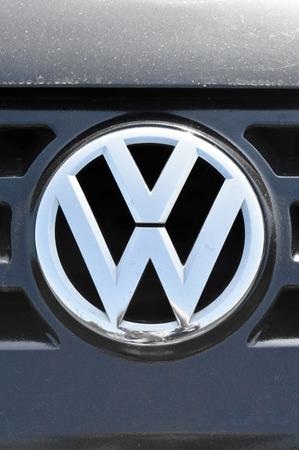 chrome: Close-up Volkswagen logo. Chrome metal Editorial
