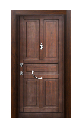 wood door: Wood looking front door. Internal stainless steel Stock Photo