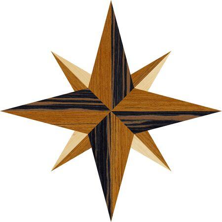 Natural wood parquet floor, a compass pattern