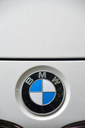 chrome: Close-up BMW logo. Chrome metal Editorial