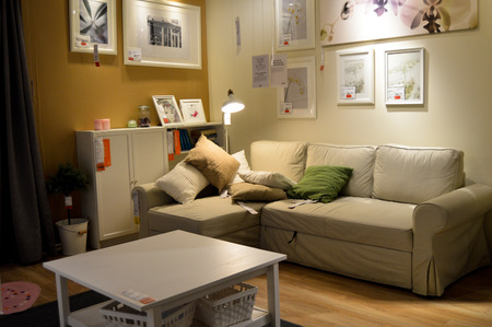 show room: Show room inside ikea store, people are shopping Editorial