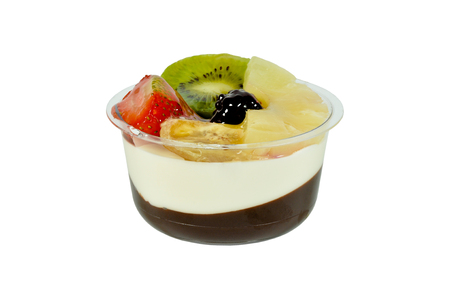 Mixed fruit pudding isolated on white ground Stock Photo