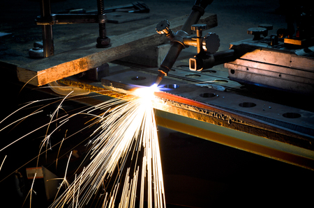 Metal cutting with gas and oxygen in a factory Stock Photo
