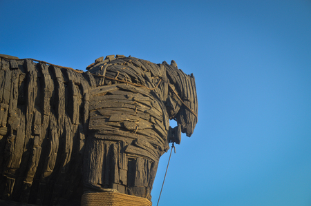 Wooden giant trojan horse in Cannacalle - Turkey this was used in brad pitt troya movie. Photo taken on: September, 2015 Editorial