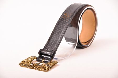 Snake leather belt, isolated on white background