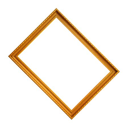 A rectangular empty wooden and gold frame isolated on a white background 免版税图像