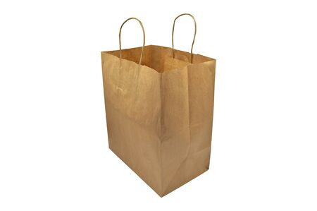Recycled paper shopping one beige bag on white background. Natural Product. Recyclable paper