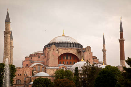 Hagia Sophia is a museum, historical basilica and mosque in Istanbul. It was built by the Byzantine Emperor Justinianus between the years 532-537 on the historical peninsula of Istanbul. Photo shooting date 14 june 2020 Editorial