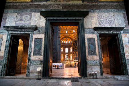 Hagia Sophia is a museum, historical basilica and mosque in Istanbul. It was built by the Byzantine Emperor Justinianus between the years 532-537 on the historical peninsula of Istanbul. Entrance door, Photo shooting date 14 june 2020