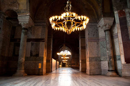 The interior of Hagia Sophia is a museum, historical basilica and mosque in Istanbul. It was built by the Byzantine Emperor Justinianus between the years 532-537 on the historical peninsula of Istanbul. Photo shooting date 14 june 2020