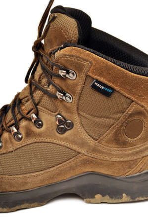 Hiking shoes and a white background, Sturdy hiking boots, strong hiking boots