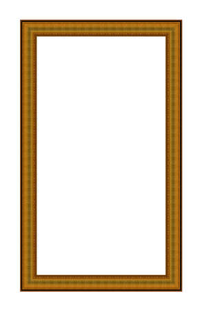 Rectangular empty wooden and gold gilded frame isolated on white background