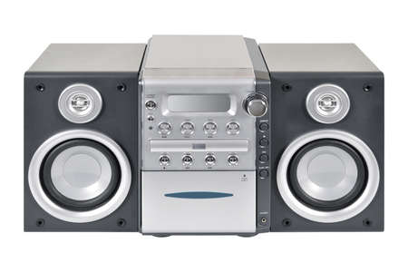 Compact stereo system cd and cassette player with radio isolated on white background Standard-Bild