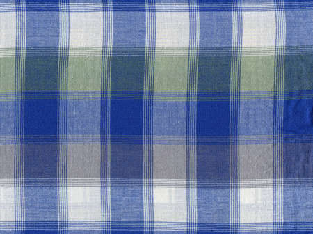 Blue classic plaid fabric, background pattern geometric abstract design, gingham texture