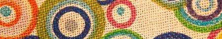 Colorful textile woven linen fabric, high quality jute fabric macro shoot