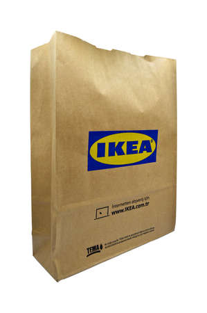 Paper bags used in home improvement stores in Turkey Ikea, Ikea recyclable paper bag, natural Product, Istanbul Turkey 06 September 2020