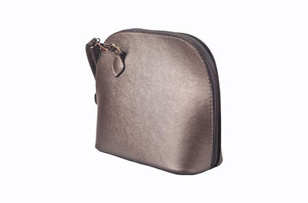 Stylish and elegant gray color leather ladies bag, isolated on white background