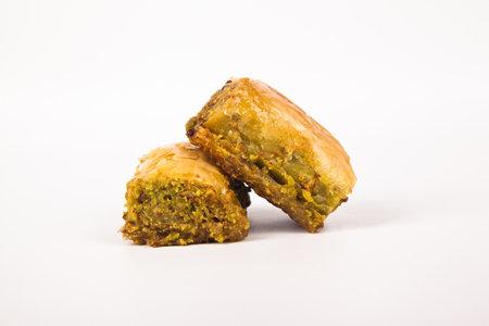 Baklava with pistachio, one of the most beautiful desserts of Turkish cuisine. Turkish dessert baklava