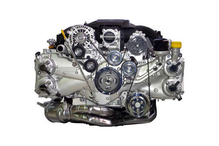 More powerful new generation car engine consuming less fuel, isolated on white background