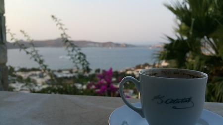 Turkish coffee basement sea view Banco de Imagens