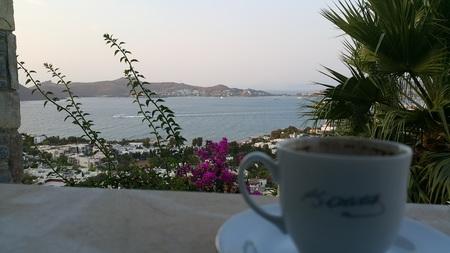 turkish coffee bodrum landscape sea Foto de archivo