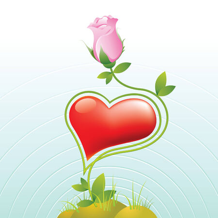 heart and rose Vector