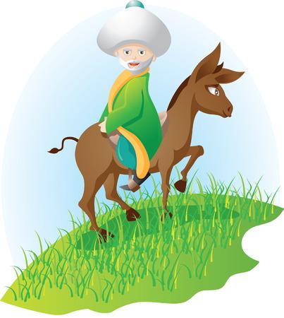 burro y el hombre (Nasreddin Hodja) Ilustración de vector