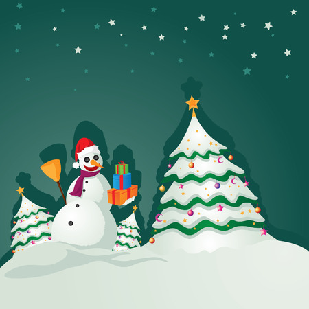 snowman and tree Stock Vector - 3974798