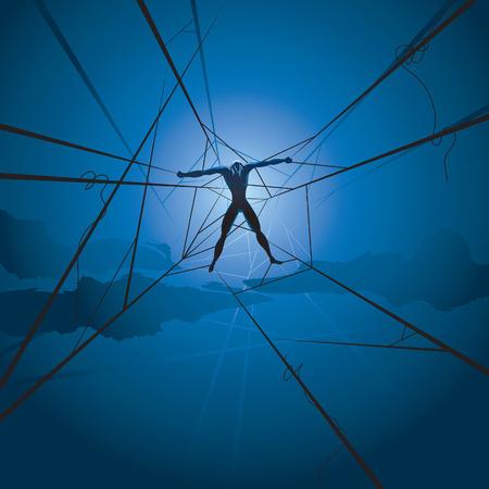 slave man en spinnen web