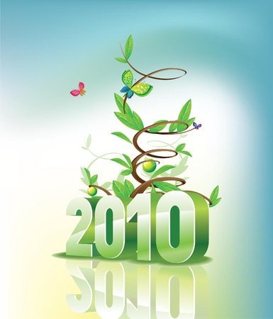 newyear card: 2010 and green new years Illustration