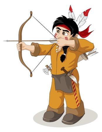 chieftain: Un giovane capo indiano americano Vettoriali