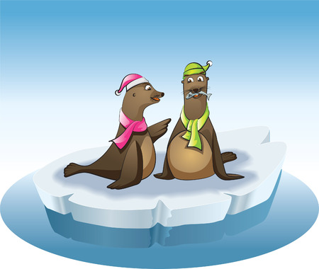 two seals fishing Vector