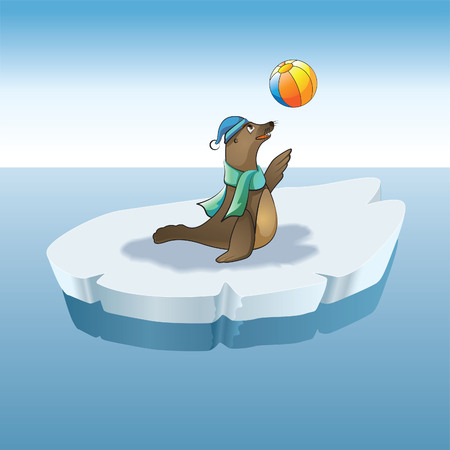 child seal and ball Illustration