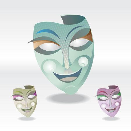 three color Carnival Mask