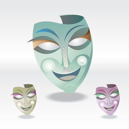 gras: three color Carnival Mask