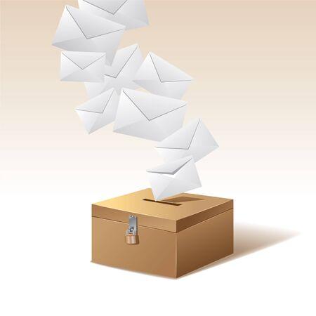 voting box: Voto e il voto box Vettoriali