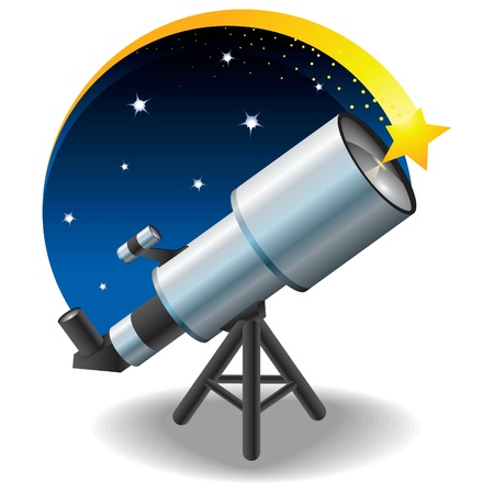 telescope and a star in the sky, floating Illustration