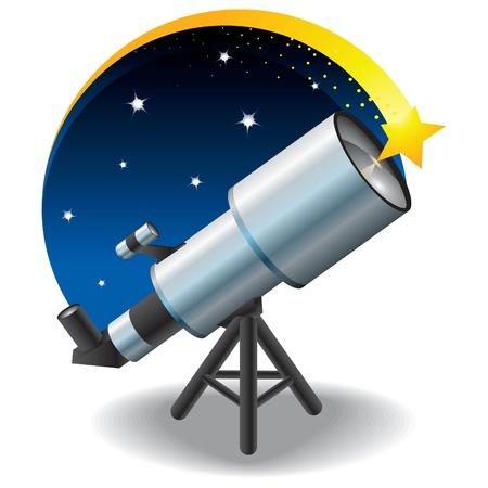 fernrohr: Teleskop und ein Stern am Himmel, schwimmende