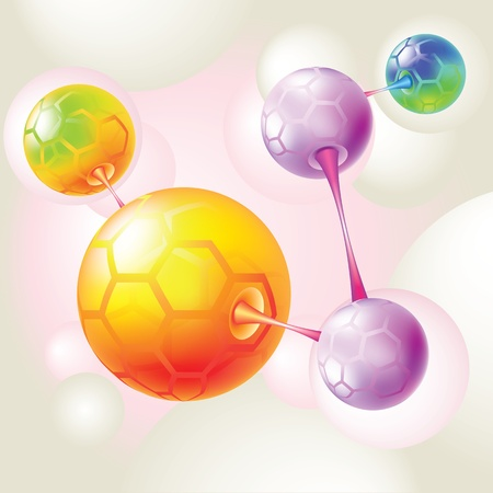 atoms: color molecule and atom