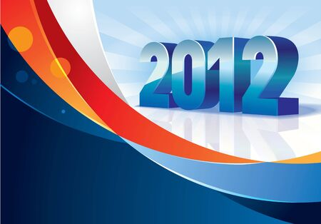 2012 letter and color ribbon for the new year Vector