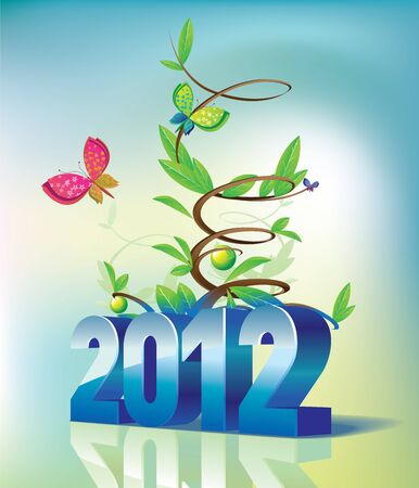 2012 the calendar and tree Vector