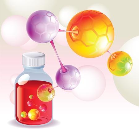 Red medicina, la botella de la medicina, y las moléculas de color