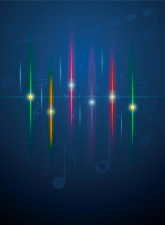 Music,notes and sound waves. Music background Vector